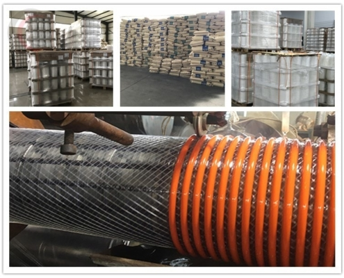 Material of Heavy Duty PVC Fabric Reinforced Suction Hose Corrugated