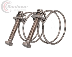 Double wire bolt hose clamp