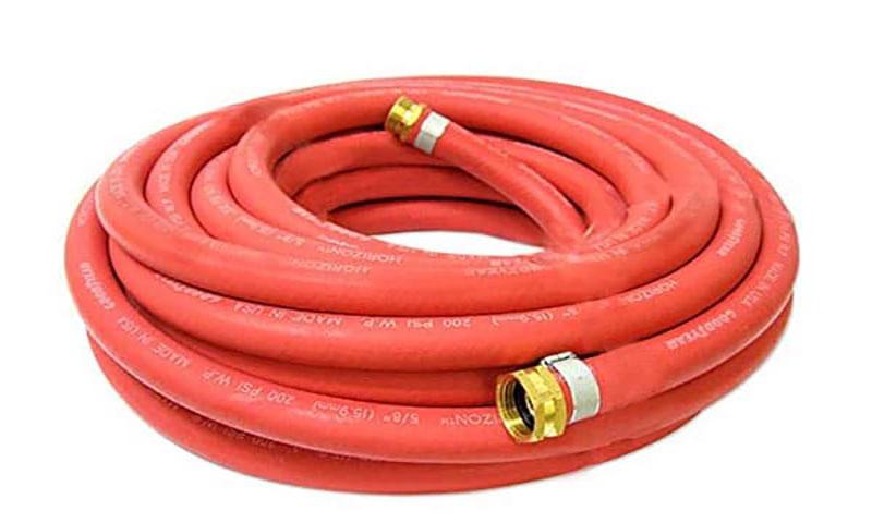 red rubber garden hose